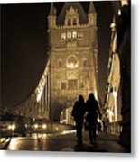 Midnight Stroll Over The Bridge Metal Print