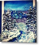 Midnight Winter Mountain Metal Print