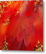 Midsummer Magik Fantasy Abstract Red Feathers, Gold Sparkles Metal Print
