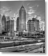 Midtown Atlanta Dusk B W Atlanta Construction Art Metal Print