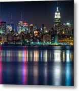 Midtown Manhattan From Jersey City At Night Metal Print by Val Black Russian Tourchin