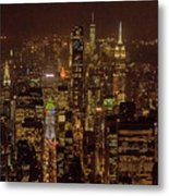 Midtown Manhattan Skyline Aerial At Night Metal Print