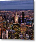 Midtown Skyline At Dusk Metal Print