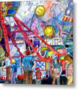 Midway Amusement Rides Metal Print