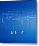 Mig 21 Blueprint Metal Print