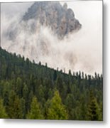 Mighty Dolomite Peaking Through The Clouds Metal Print