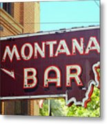 Miles City, Montana - Bar Neon Metal Print