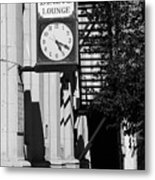 Miles City, Montana - Downtown Clock Bw Metal Print