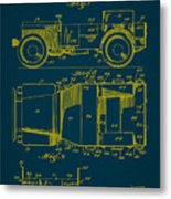 Military Vehicle Body Patent Drawing 1a Metal Print