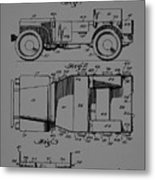 Military Vehicle Body Patent Drawing 1d Metal Print