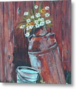 Milk Can Of Daisy's Metal Print
