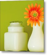 Milk Glass Metal Print
