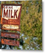 Milk Sign Metal Print