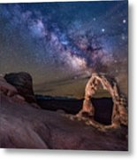 Milky Way And Delicate Arch Metal Print
