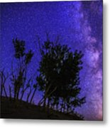 Milky Way And Silhouette Trees At Bruneau Dunes State Park Idaho Metal Print