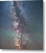 Milky Way Over An Old Ranch Corral Metal Print