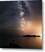 Milky Way Over Mary Island From Silver Harbour Near Thunder Bay Metal Print