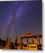 Milky Way Over Old Corral Metal Print