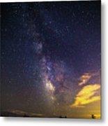 Milky Way Over The Boardwalk Metal Print