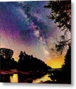 Milky Way Over The Saco River Maine  Metal Print