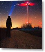 Milky Way Over The Wind Turbine Metal Print
