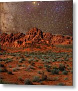 Milky Way Rising Over The Valley Of Fire Metal Print by Charles Warren