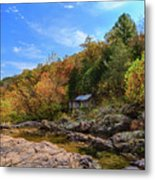 Mill By The Stream Metal Print