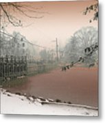 Mill Pond Snow Metal Print