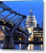 Millennium Bridge And St Pauls Cathedral Metal Print