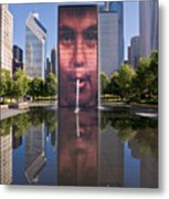 Millennium Park Fountain And Chicago Skyline Metal Print