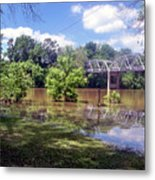 Milnes Bridge At Flood Metal Print
