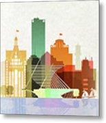 Milwaukee Skyline Color Metal Print