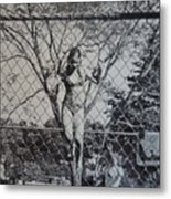 Mimosa Girl Jumps In Metal Print