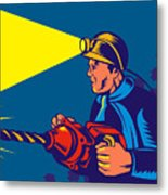 Miner With Jack Drill Metal Print