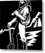 Miner With Pick Axe And Shovel  Metal Print