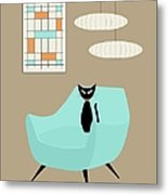 Mini Abstract With Blue Chair Metal Print