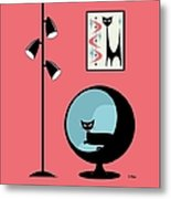 Shower Curtain Mini Atomic Cat On Pink  Metal Print