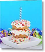 Mini Donut Cake With  Blue Candle Metal Print
