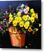Mini Pansy Pot Metal Print
