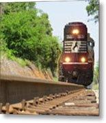 Mini Train Moves Down The Track Metal Print