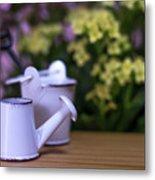 Miniature Gardening Kit With Pink And Yellow Kalanchoe Backgroun Metal Print