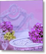 Miniature Table And Chair Set With Kalanchoe Metal Print