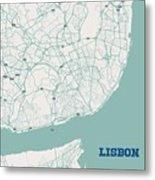 Minimalist Artistic Map Of Lisbon, Portugal 3a Metal Print