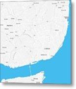 Minimalist Artistic Map Of Lisbon, Portugal 4a Metal Print