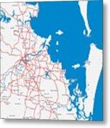 Minimalist Modern Map Of Brisbane, Australia 6 Metal Print