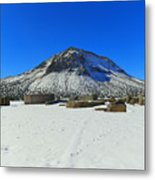 Mining Ruins Foreground A Snowy Mountain Metal Print