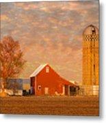 Minnesota Farm At Sunset Metal Print