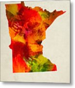 Minnesota State Map 04 Metal Print
