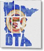 Minnesota Typography Map Flag Metal Print