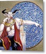 Minotaur With Mosaic Metal Print